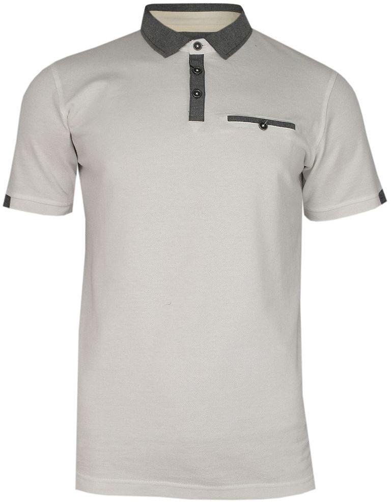 Kremowo-Szara Koszulka Polo -CHIAO- 100% Bawełna, Męska, Krótki Rękaw TSCHIAOM3401PScream