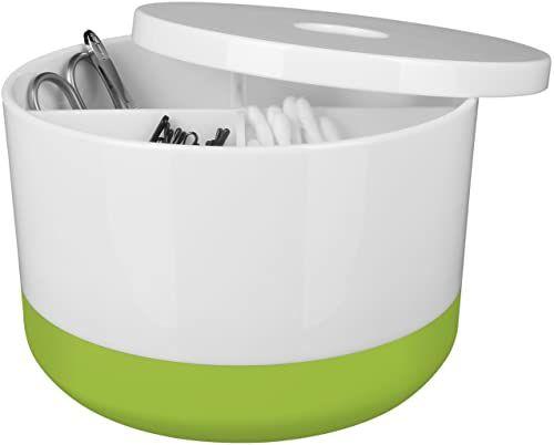 """Spirella Organizer na kosmetyki""""Moji"""" z indywidualnie regulowanymi przegródkami pudełko do przechowywania kosmetyków i biżuterii 15 x 9 cm z pokrywką biały/zielony"""