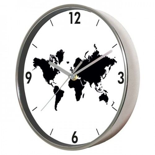 Zegar ścienny chromowany Mapa Świata