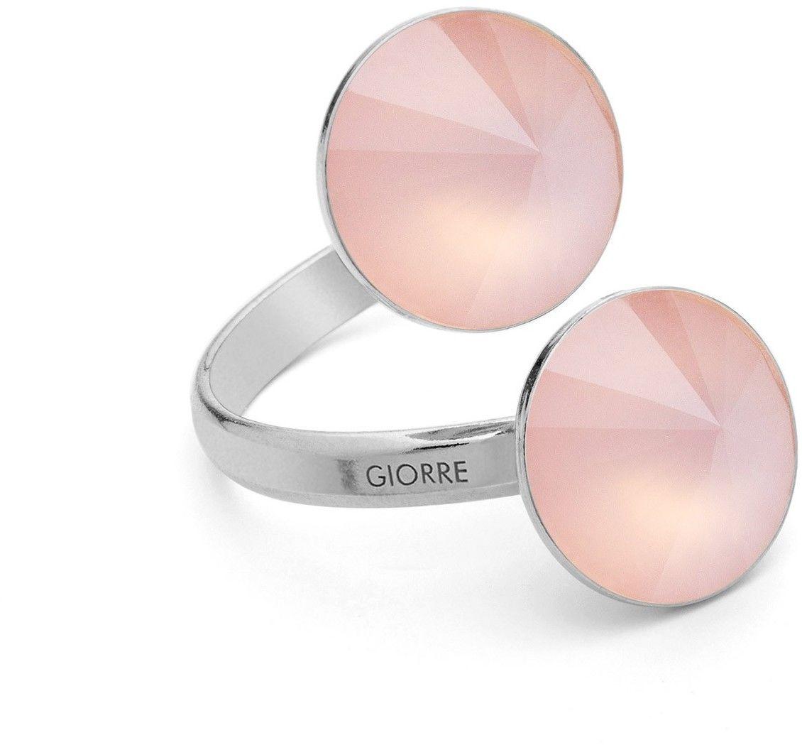 Pierścionek z dwoma naturalnymi kamieniami - kwarc, srebro 925 : Kamienie naturalne - kolor - kwarc różowy antyczny, Srebro - kolor pokrycia - Pokrycie platyną