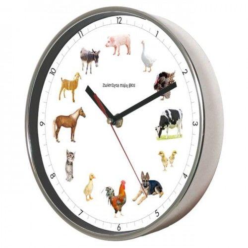 Zegar ścienny chromowany z głosami zwierząt