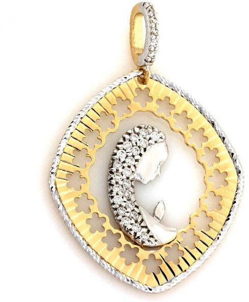 Złoty medalik 585 Ażurowa Matka Boska białe złoto