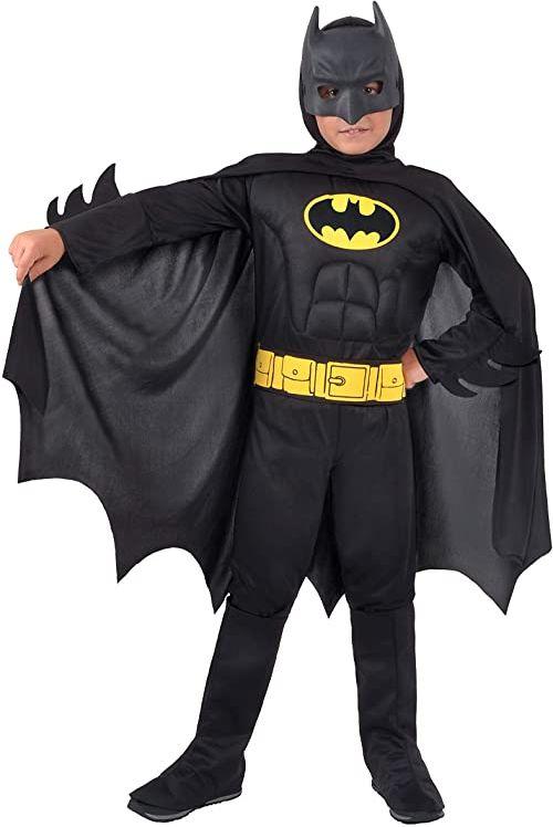 Batman Dark Knight kostium chłopięcy oryginalny DC Comics (rozmiar 5-7 lat) z wyściełanymi mięśniami, kolor 11671.5-7