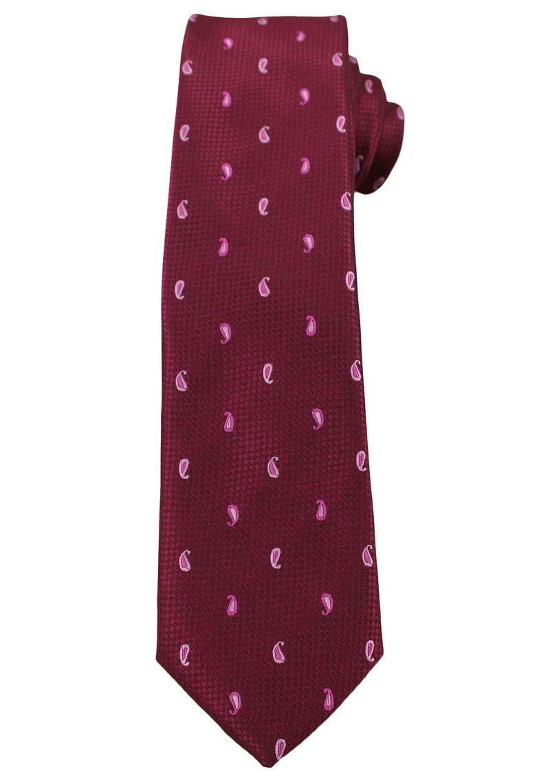 Bordowy Elegancki Krawat -Angelo di Monti- 6 cm, Męski, Różowy Wzór Paisley KRADM1498