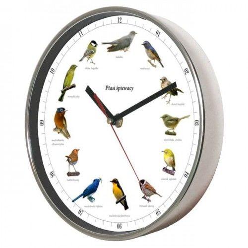 Zegar chromowany z głosami ptaków #1