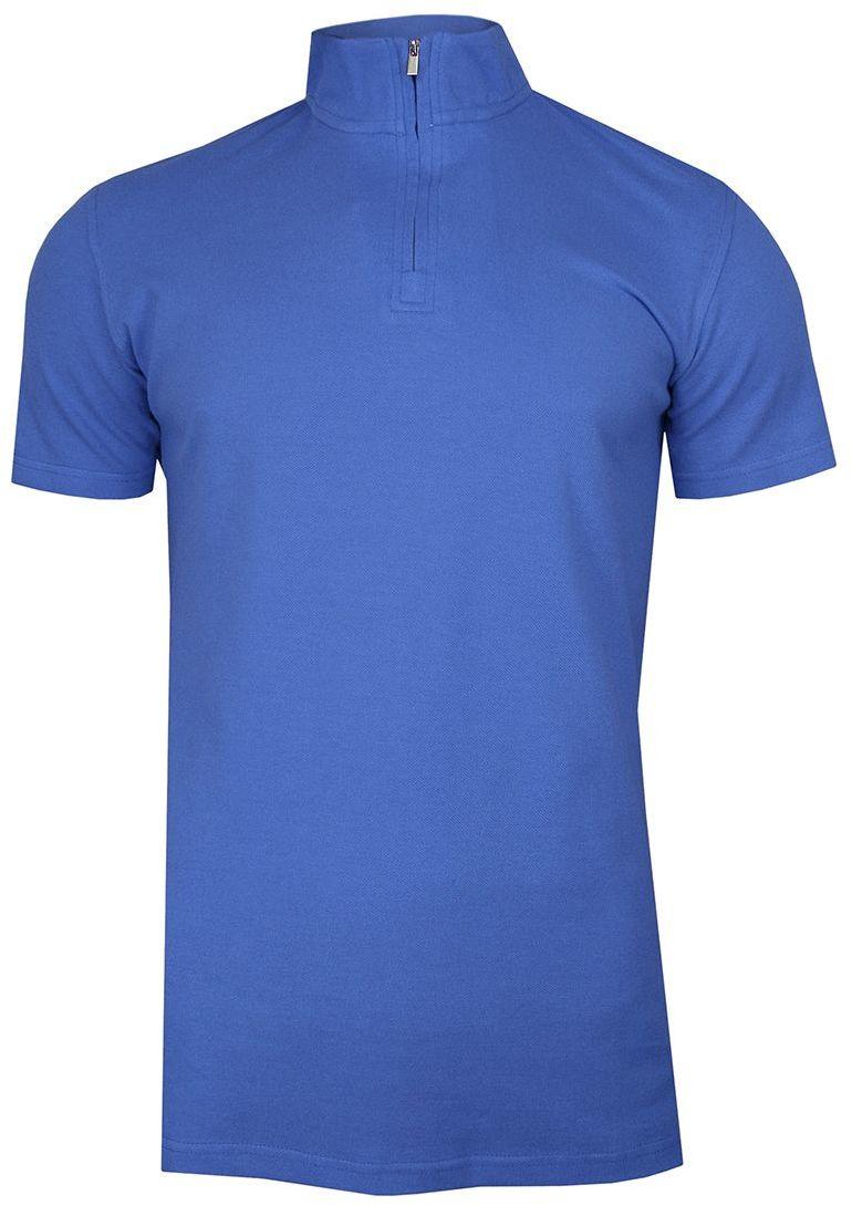 Niebieska Koszulka Polo na Stójce -CHIAO- 100% Bawełna, Męska, Krótki Rękaw, na Zamek TSCHIAOM4201PSblue