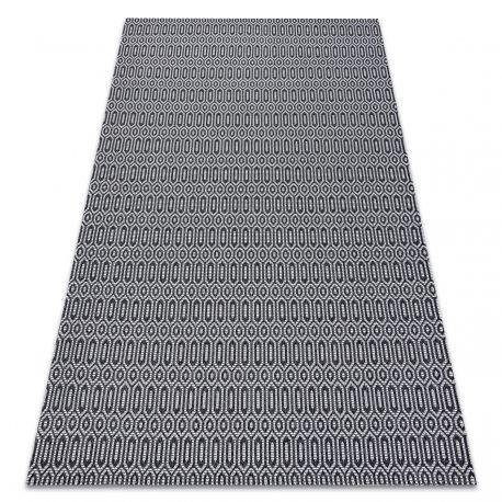 Dywan CASA Ekologiczny, EKO SIZAL Boho Oczka 22075 czarny / szary, z bawełny recyklingowanej 75x150 cm