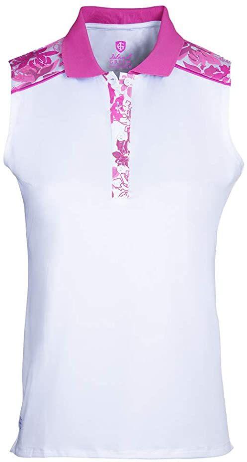 Island Green Damska koszula polo Iris z kwiatowym nadrukiem odprowadzająca powietrze bez rękawów top koszulka golfowa Biały/gorący różowy L