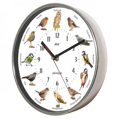 Zegar chromowany z głosami ptaków #2