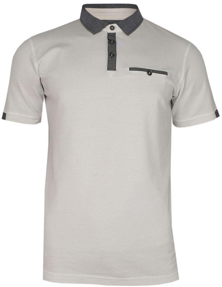 Kremowo-Szara Elegancka Koszulka Polo -RANIR- 100% Bawełna, Męska, Krótki Rękaw TSRANIRM3401PScream