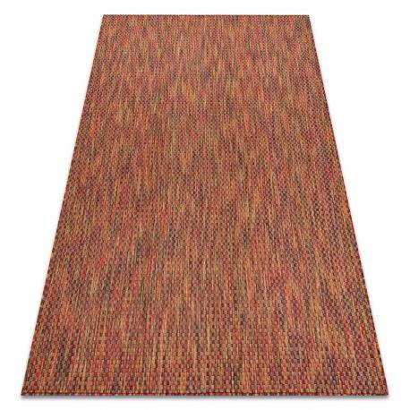 Dywan FISY nowoczesny, SZNURKOWY SIZAL 20774 Kwadraty, melanż czerwony 80x150 cm