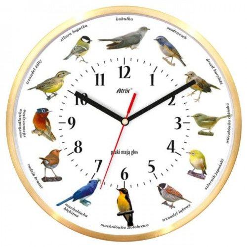 Zegar aluminiowy złoty z głosami ptaków #1