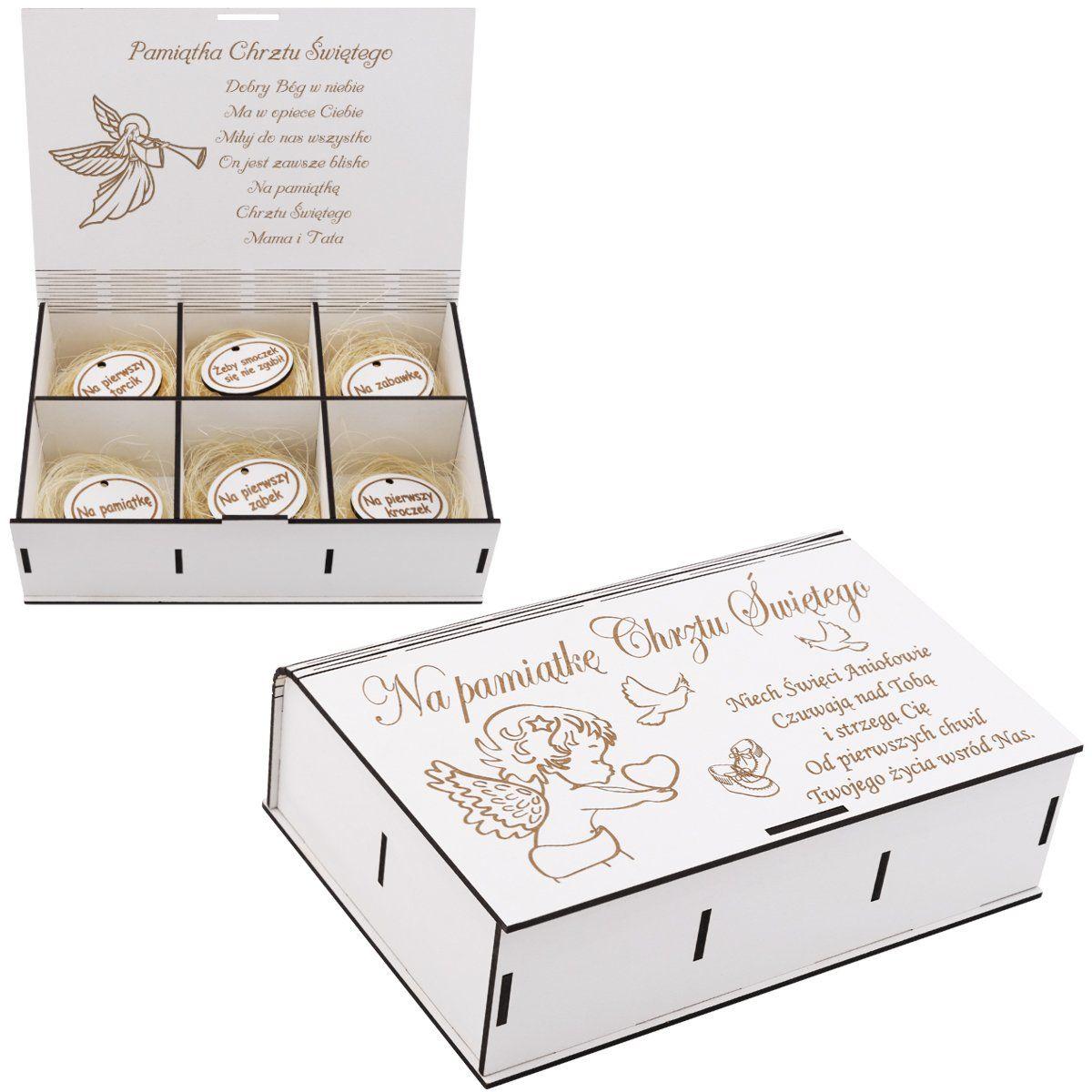 Pudełko wspomnień Pamiątka chrztu Świętego z Grawerem