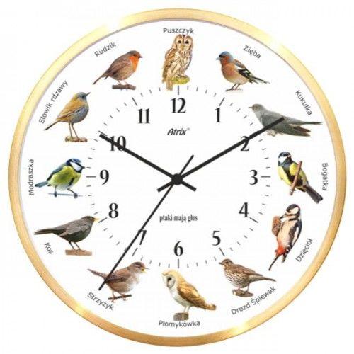 Zegar aluminiowy złoty z głosami ptaków #2