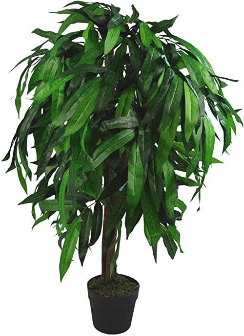 Leaf LEAF-7237 Design UK XL sztuczne drzewko mango roślina czarny plastikowy doniczka, zielony, 100 cm