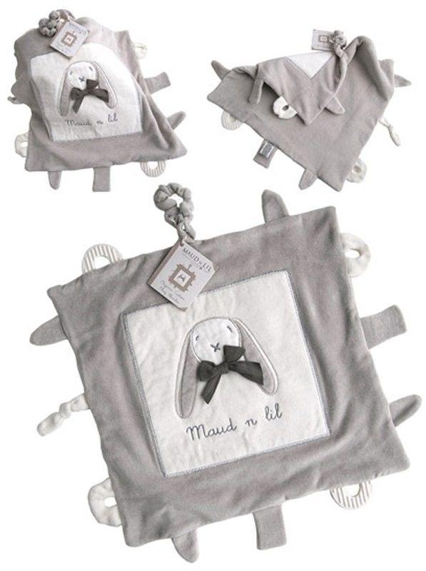 Maud n Lil - Kocyk Przytulanka z Gryzakami z Organicznej Bio Bawełny Gots Luxury Soft Play Blankie