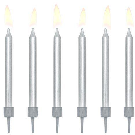Świeczki urodzinowe srebrne 6cm 6szt SCP-10-018ME