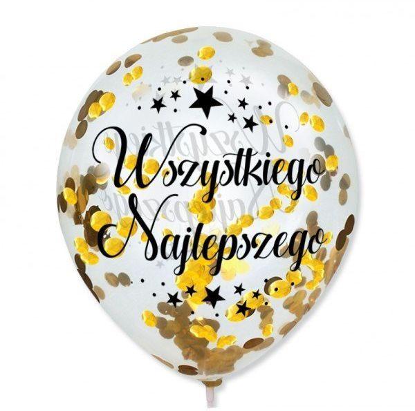 Balony Wszystkiego Najlepszego ze złotym konfetti ok. 30cm 10 sztuk BAL126-10x