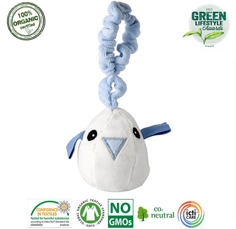 Maud n Lil Zawieszka Ćwierkająca do Wózka z Bio Organicznej Bawełny Gots Tweet The Bird Blue