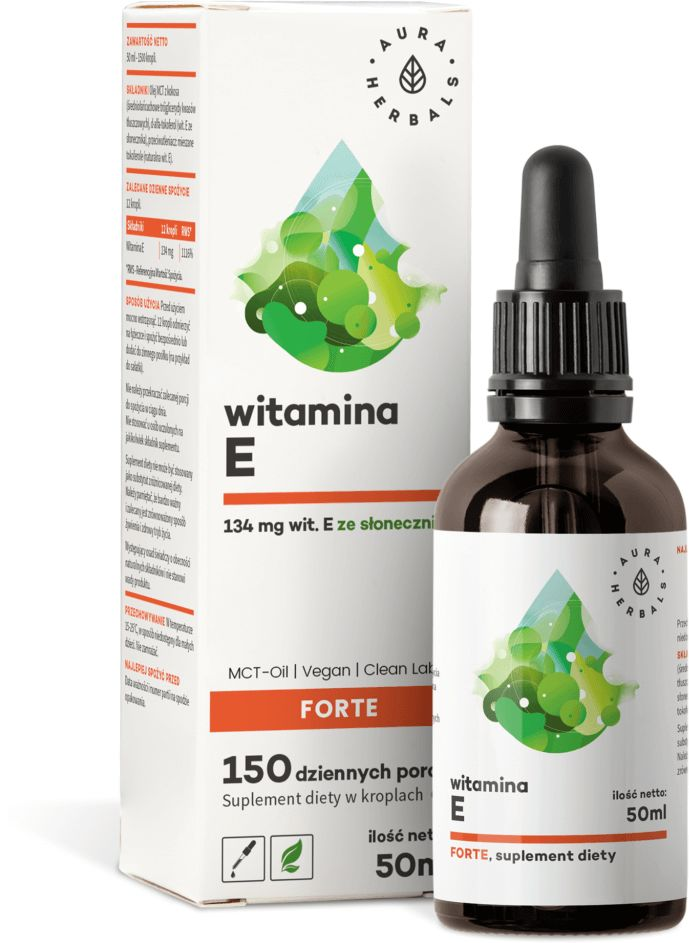 Witamina E Forte + Olej MCT Krople Clean Label Vege krople 50 ml w Płynie Aura Herbals
