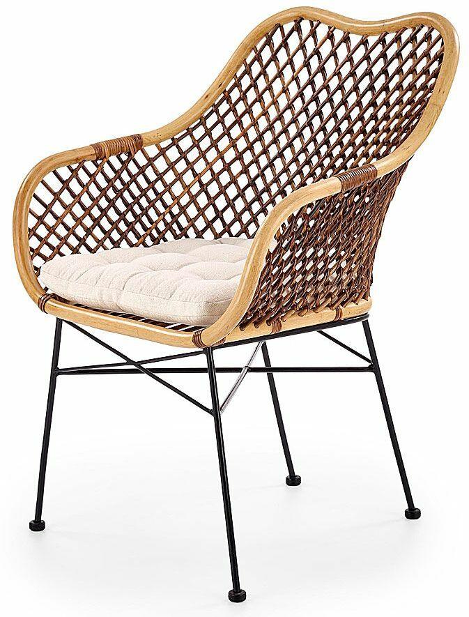 Rattanowe krzesło ażurowe z poduszką Ledis