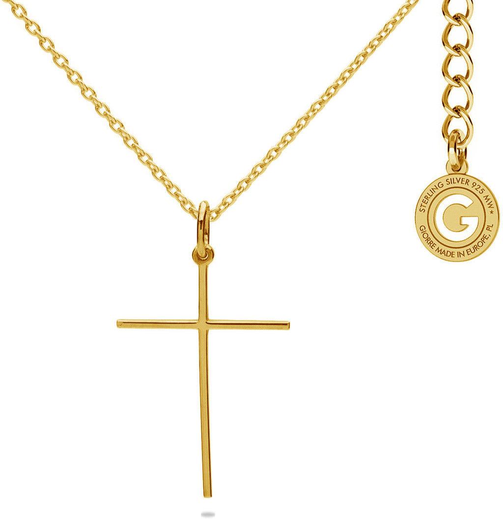 Srebrny naszyjnik krzyżyk, srebro 925 : Srebro - kolor pokrycia - Pokrycie żółtym 18K złotem
