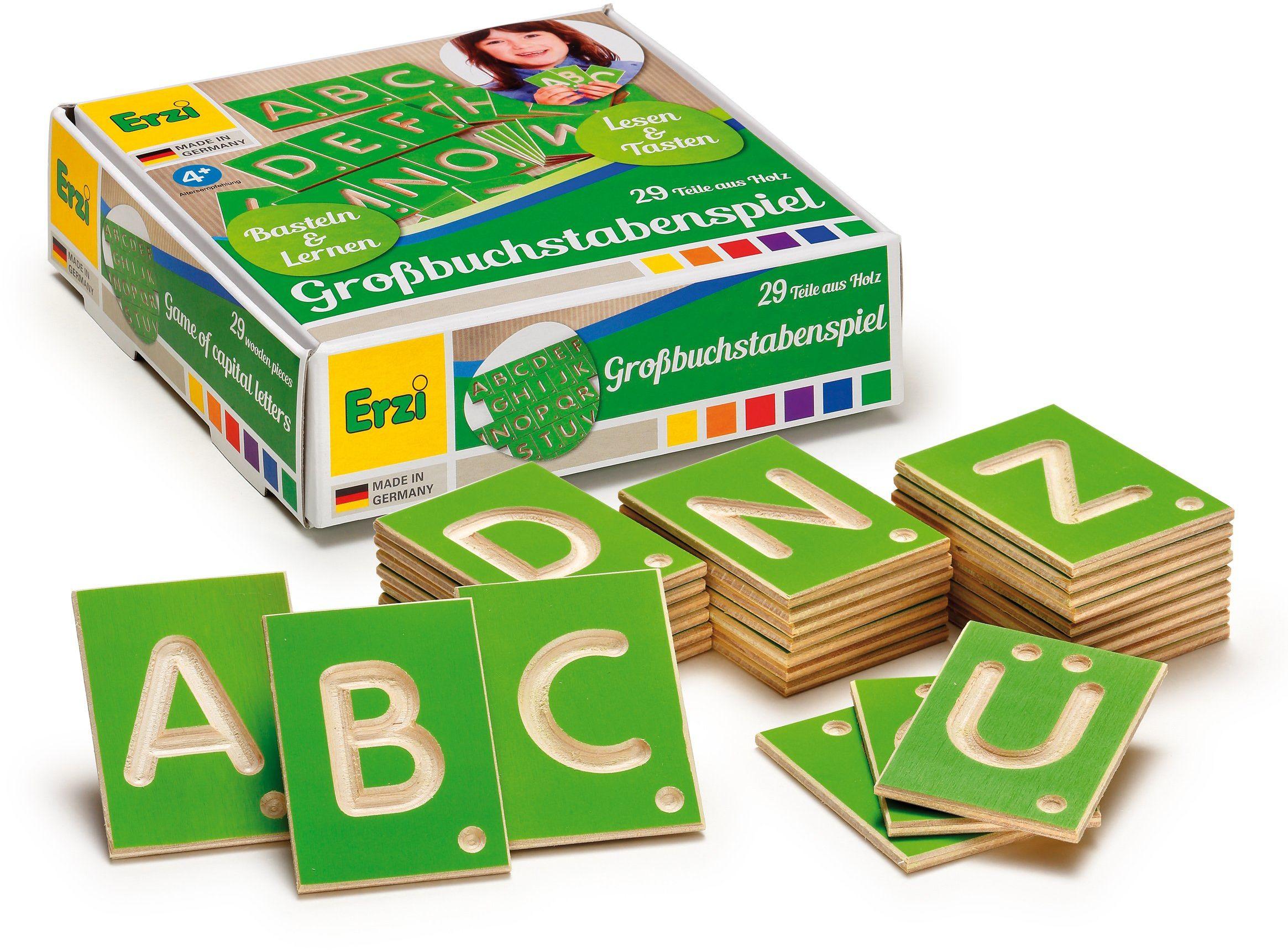 Erzi Niemiecka drewniana zabawka edukacyjna wielkie litery
