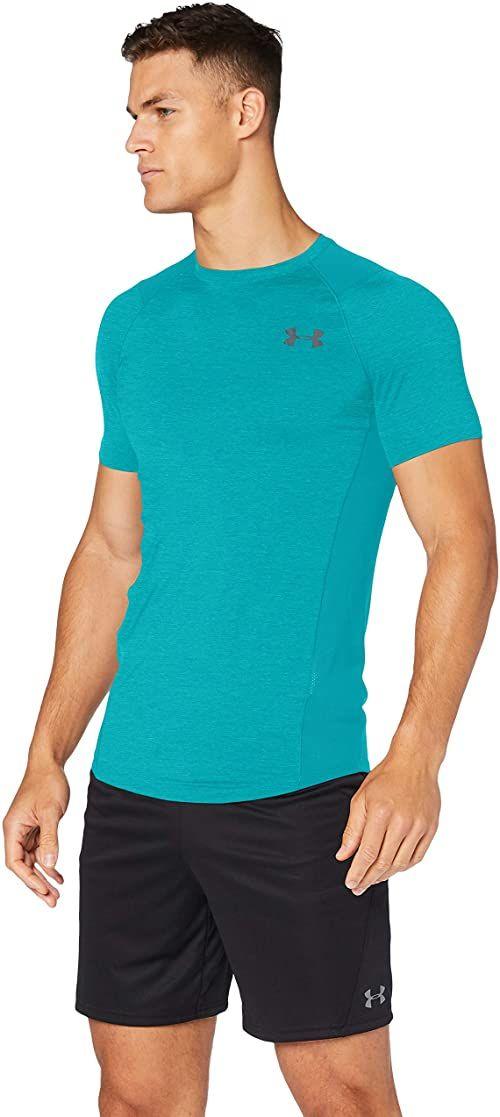 Under Armour Mk1 męska koszulka z krótkim rękawem Eu Smu z krótkim rękawem oddychająca męska koszulka, odzież do biegania z technologią HeatGear ZIELONY XXL