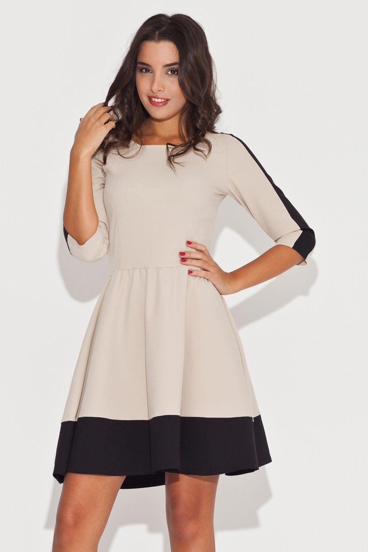 Elegancka beżowo-czarna sukienka z rękawem 3/4 z kolorowymi lamówkami