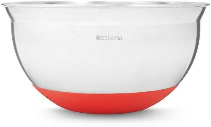 Brabantia - stalowa misa kuchenna 1.6l - czerwona silikonowa podstawa - czerwony