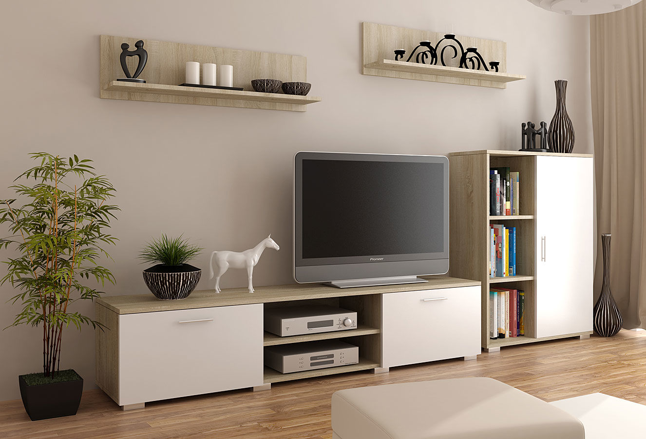 Komplet mebli RTV Pixelo 6X - biały + dąb sonoma