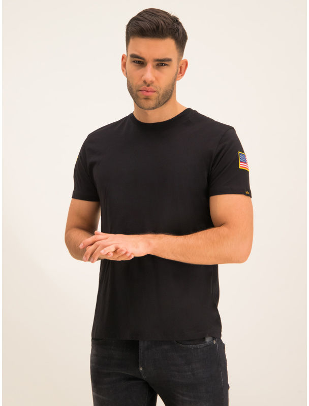 Alpha Industries T-Shirt Nasa 176506 Czarny Regular Fit