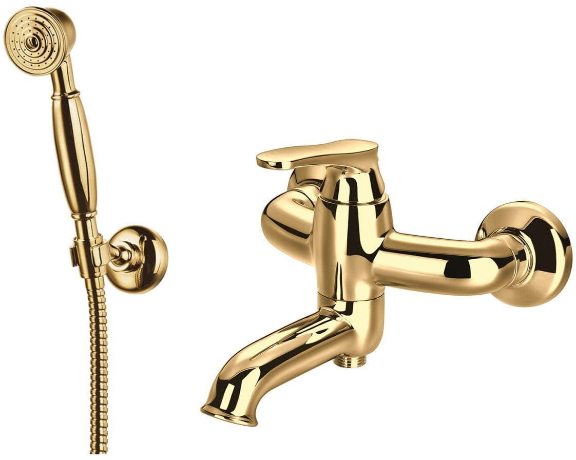 Omnires Art Deco bateria wannowo-prysznicowa kompletna złota AD5131GL