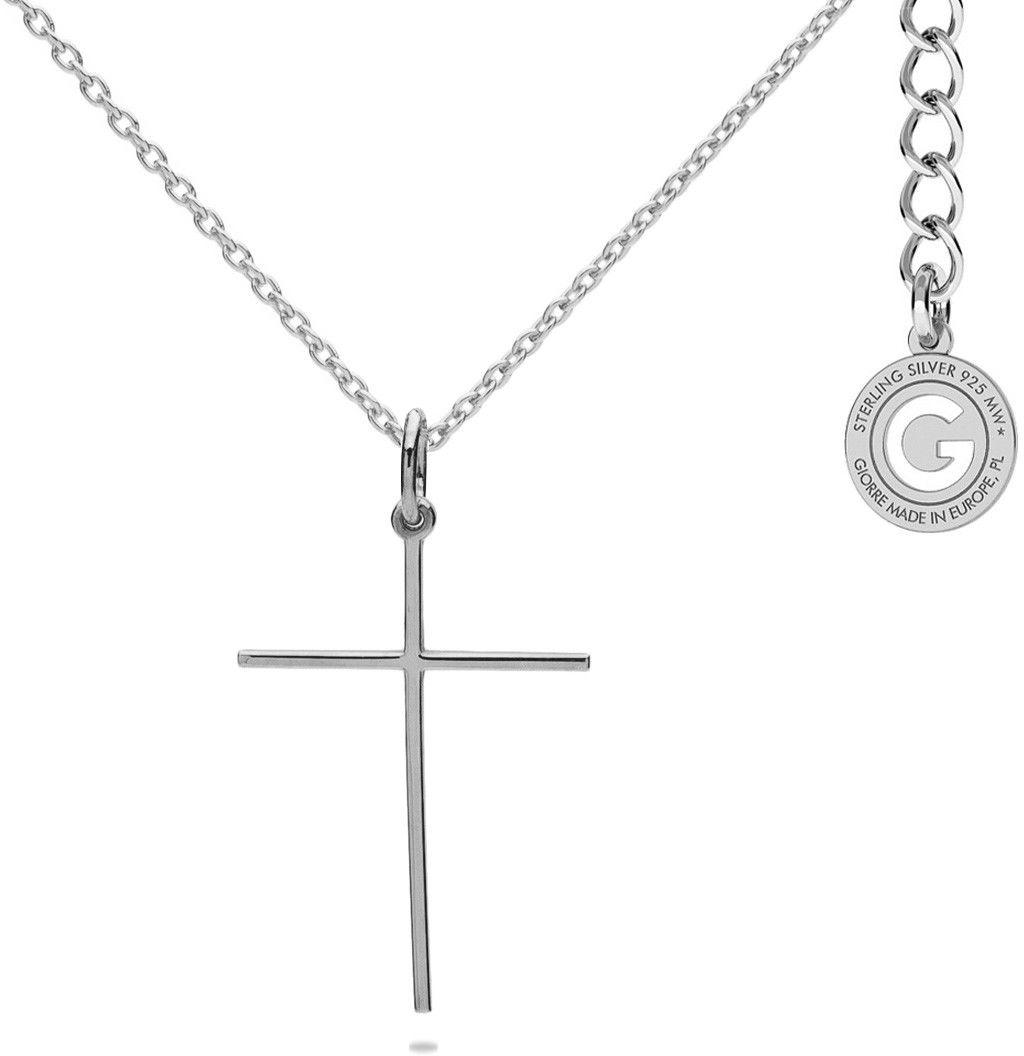 Srebrny naszyjnik krzyżyk, srebro 925 : Srebro - kolor pokrycia - Pokrycie platyną