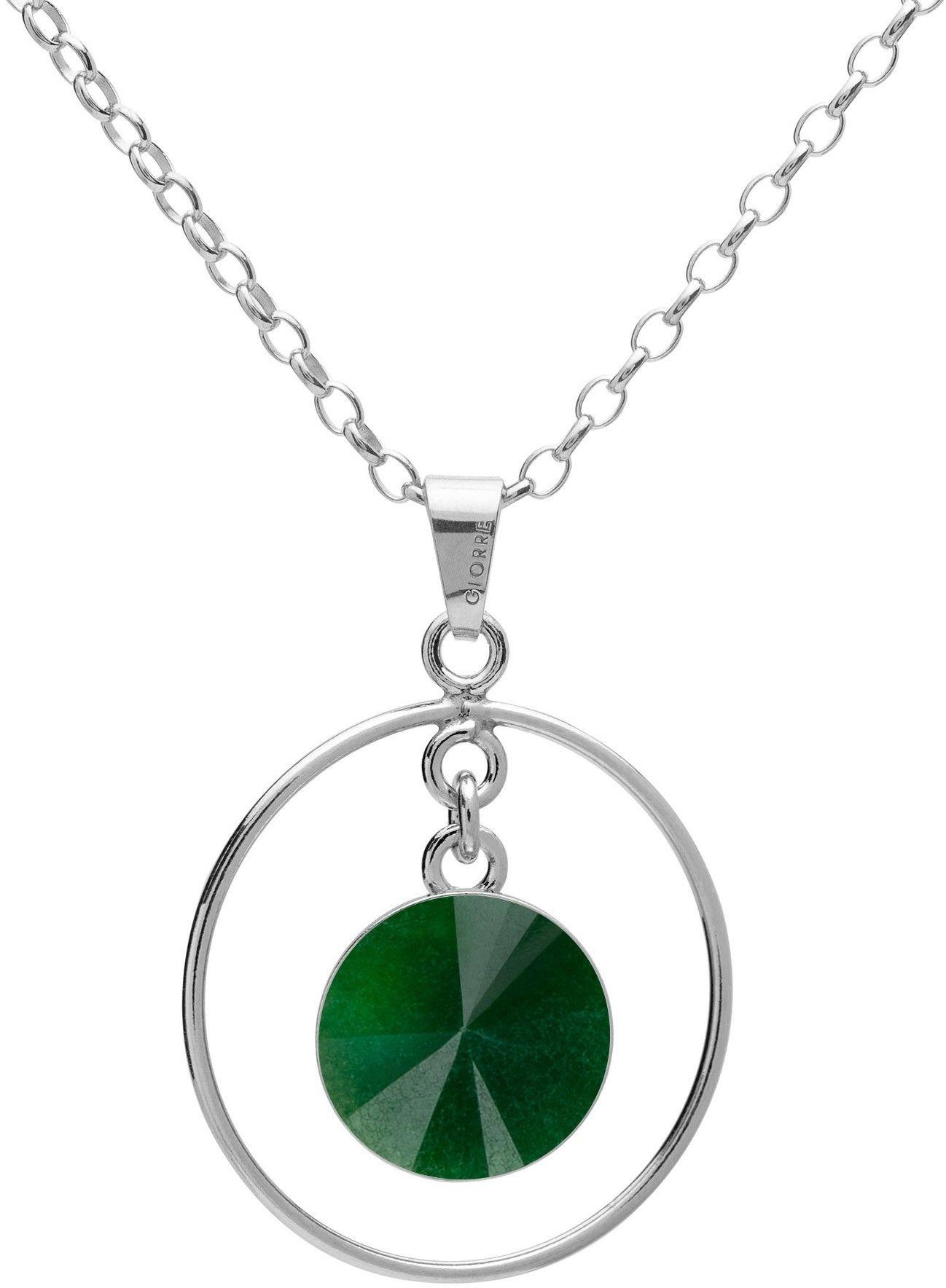 Okrągły naszyjnik z naturalnym kamieniem - jadeit, srebro 925 : Długość (cm) - 45 + 5, Kamienie naturalne - kolor - jadeit zielony ciemny, Srebro - kolor pokrycia - Pokrycie platyną