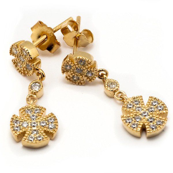 Srebrne Kolczyki Pokryte Złotem z Diamentowymi Cyrkoniami