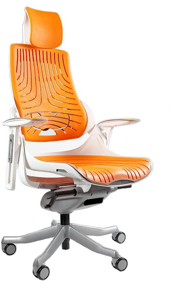 Fotel biurowy Wau biały / elastomer mango Unique