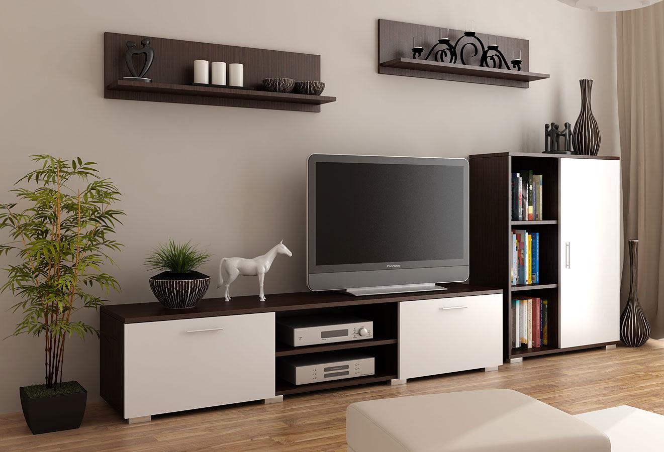 Komplet mebli RTV Pixelo 6X - biały + wenge