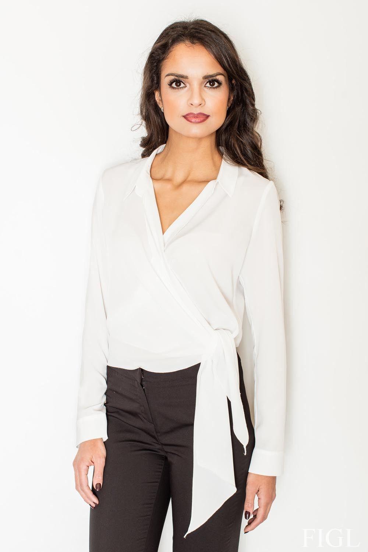 Ecru elegancka bluzka z kopertowym założeniem