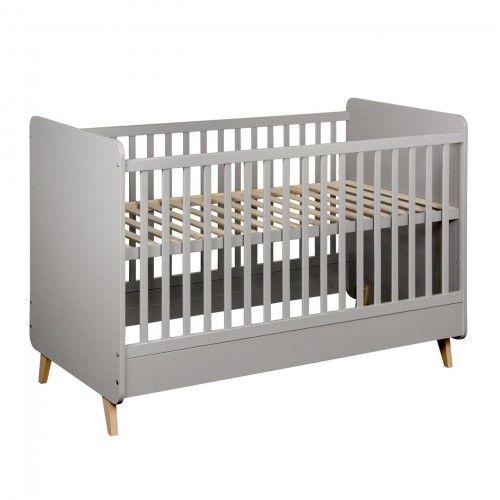 Szare łóżeczko niemowlęce Quax Loft 140x70