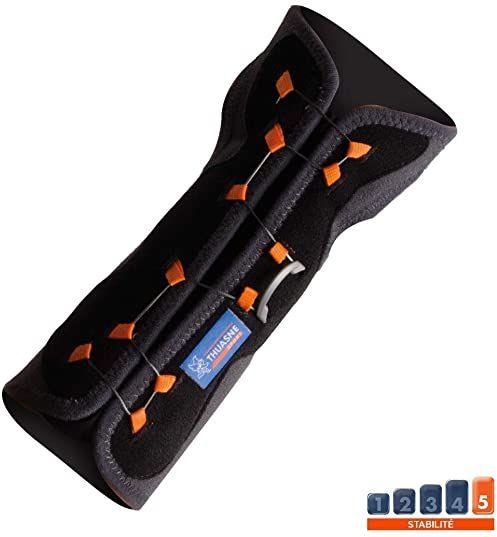 Orteza na nadgarstek do nieruchomości z systemem zamykania Boa  firmy Thuasne Sport  czarna/szara/pomarańczowa  rozmiar 1 (13  17 cm)