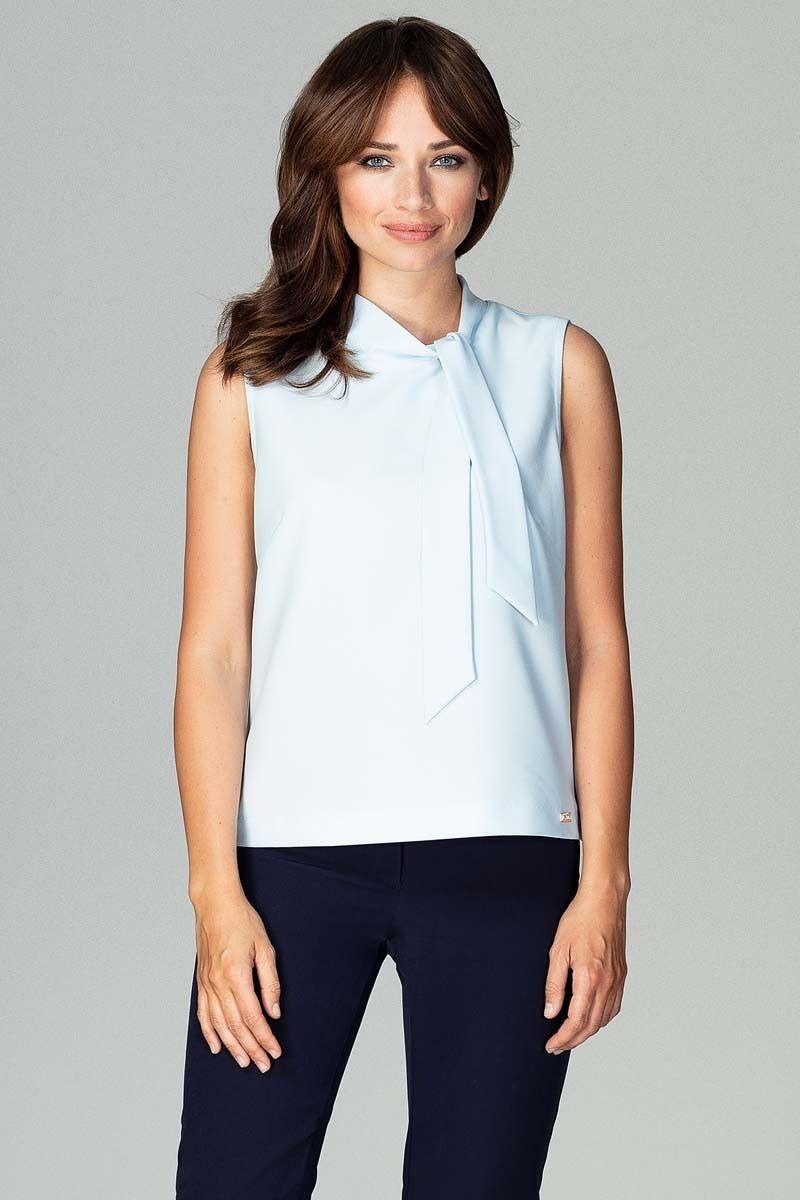 Jasnoniebieska szykowna bluzka bez rękawów z wiązaniem przy dekolcie