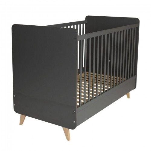 Antracytowe łóżeczko niemowlęce Quax Loft 140x70