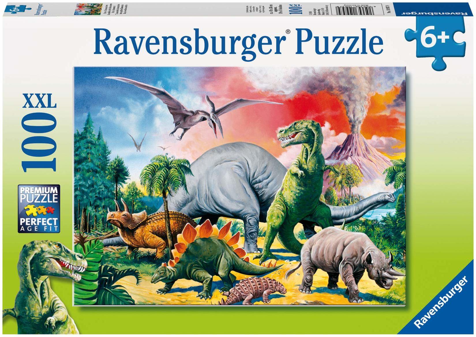 Ravensburger Puzzle 10957 Dinozaury 100 Elementów Puzzle Dla Dzieci (10957) Unikalne Elementy, Technologia Softclick - Klocki Pasują Idealnie ,żółty
