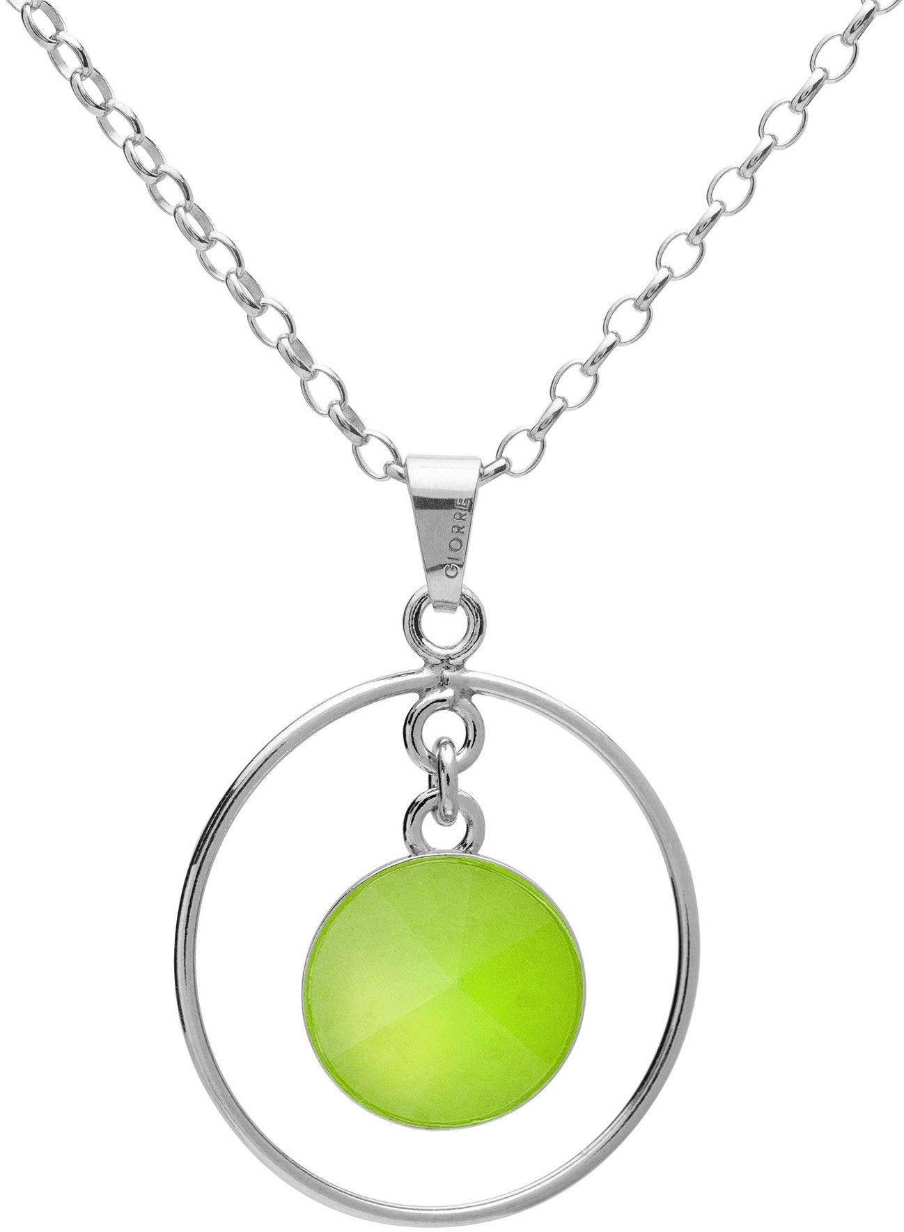 Okrągły naszyjnik z naturalnym kamieniem - chryzopraz, srebro 925 : Długość (cm) - 45 + 5, Kamienie naturalne - kolor - chryzopraz zielony jasny, Srebro - kolor pokrycia - Pokrycie platyną