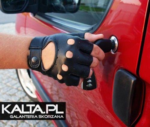 Rękawiczki skórzane bez palców, samochodowe, rowerowe
