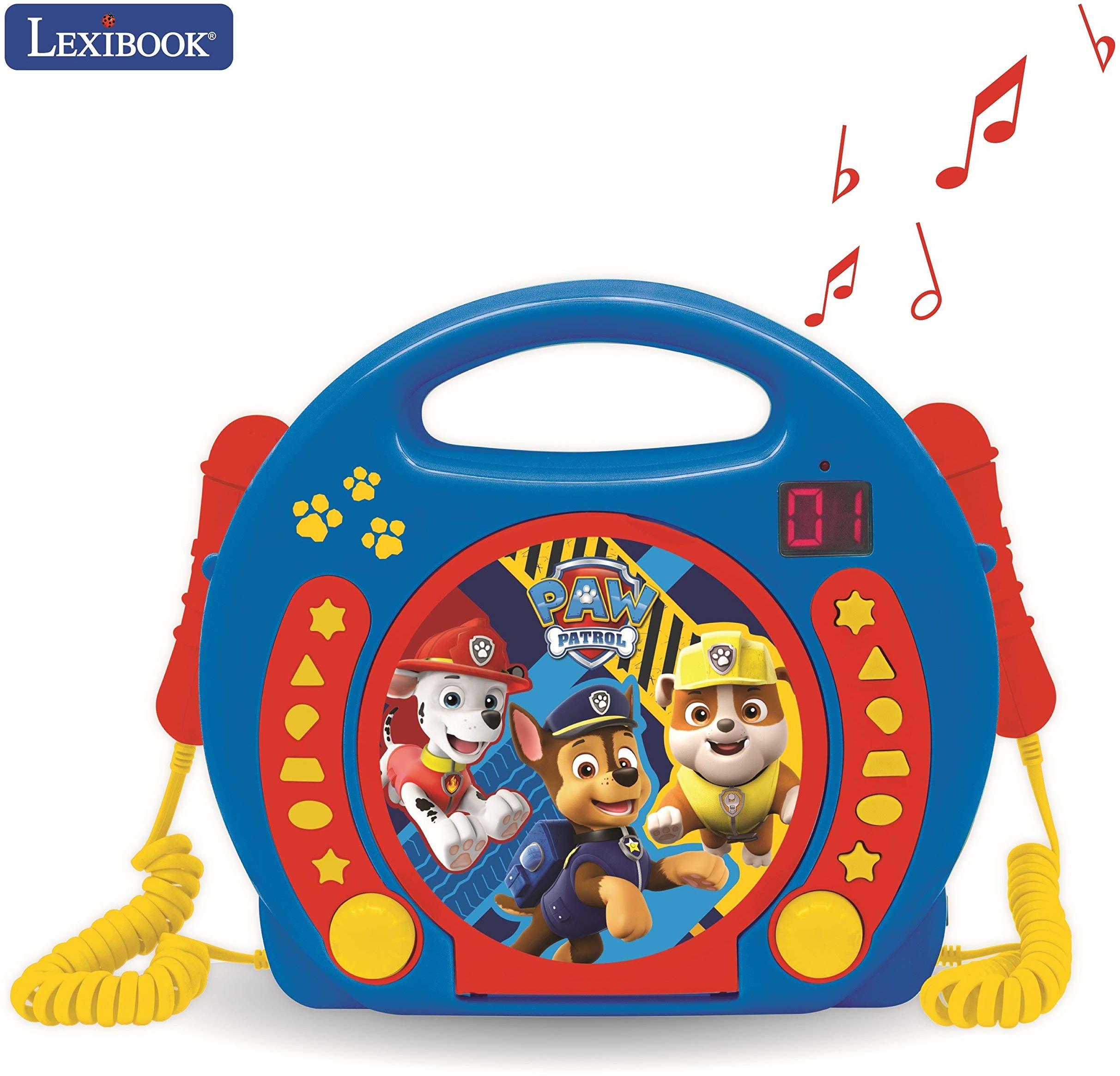 Lexibook RCDK100PA Psi Patrol Chase Marshall Nickelodeon-Karaoke odtwarzacz CD z 2 mikrofonami, funkcją programowania, gniazdo słuchawkowe, dla dzieci, z zasilaczem lub bateriami, niebieski/czerwony