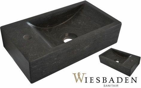 Mała umywalka z kamienia B-STONE 40x22 cm, RĘCZNIE WYKONANY