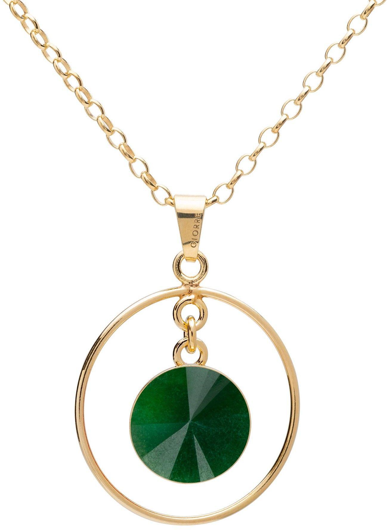 Okrągły naszyjnik z naturalnym kamieniem - jadeit, srebro 925 : Długość (cm) - 45 + 5, Kamienie naturalne - kolor - jadeit zielony ciemny, Srebro - kolor pokrycia - Pokrycie żółtym 18K złotem
