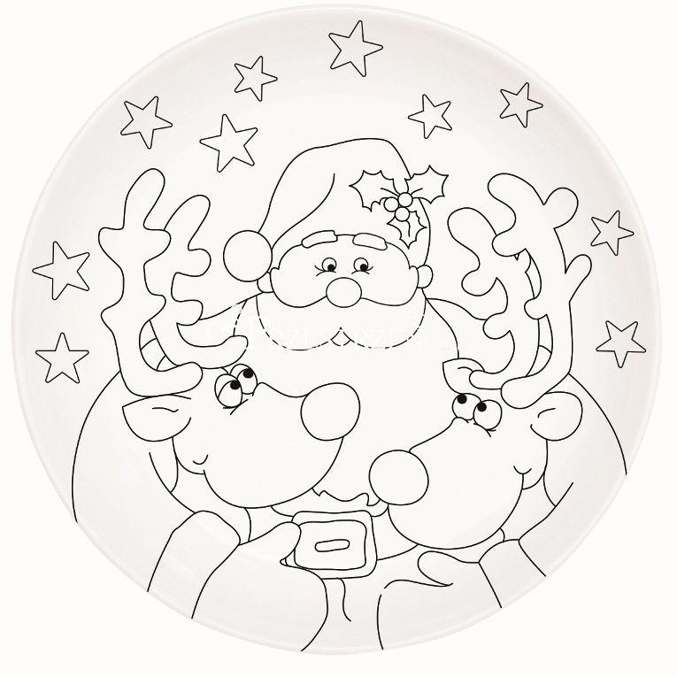 TALERZ PORCELANOWY DO MALOWANIA + FARBY - Święty Mikołaj Art & Colour ŚWIĘTA (199 SANE )